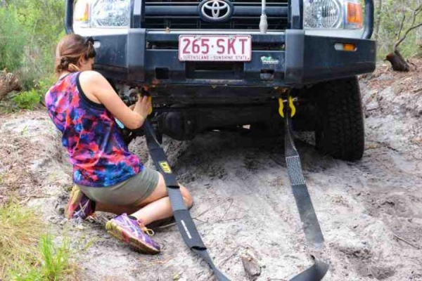 Licenced to drive: Lucy from Style Magazines learns the art of vehicle recovery on Fraser Island.